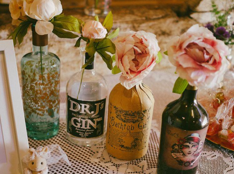Gin Bottles Wedding Table Decor