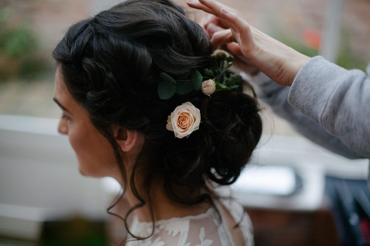 Beautiful Bridal Up Do With Flowers
