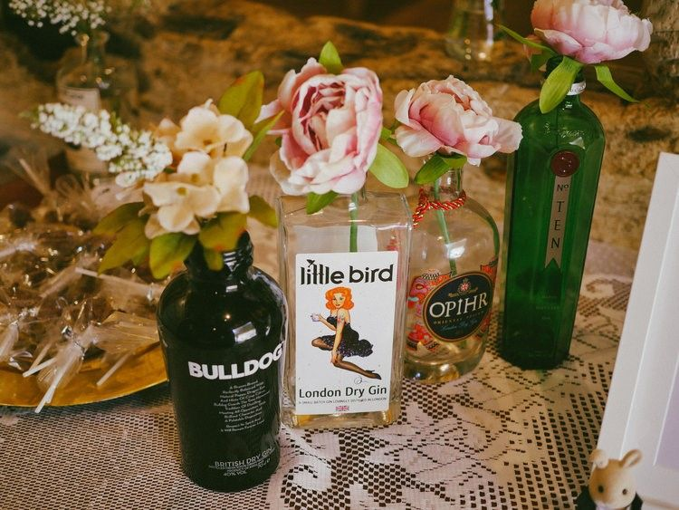 Gin Bottles Wedding Decor