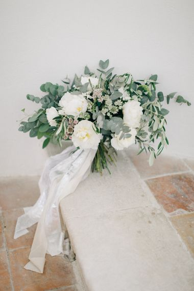 Green & White Wedding Bouquet With Silk Ribbon