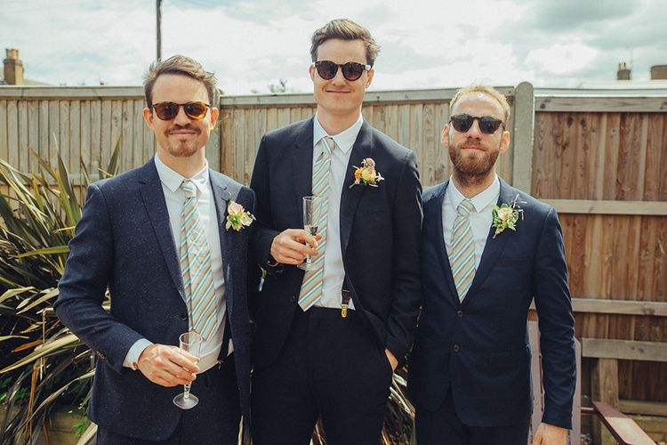 Groomsmen in Paul Smith Suits | Bright Coastal Wedding at East Quay Venue in Whitstable | Deborah Grace Photography