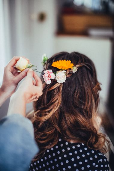 Bridal Up Do with Flowers | Bright Coastal Wedding at East Quay Venue in Whitstable | Deborah Grace Photography