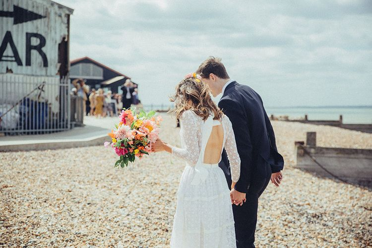 Bride in Elizabeth Avey Bridal Gown | Groom in Paul Smith Suit | Bright Coastal Wedding at East Quay Venue in Whitstable | Deborah Grace Photography