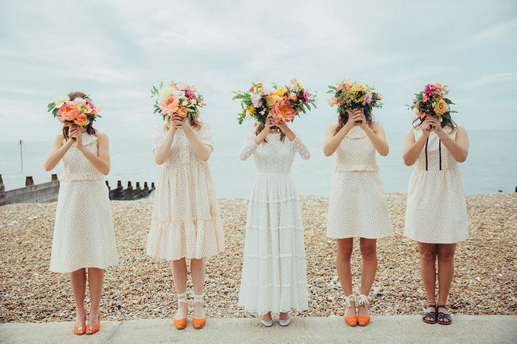 Bridesmaids in Orla Kiely Dresses | Bright Coastal Wedding at East Quay Venue in Whitstable | Deborah Grace Photography