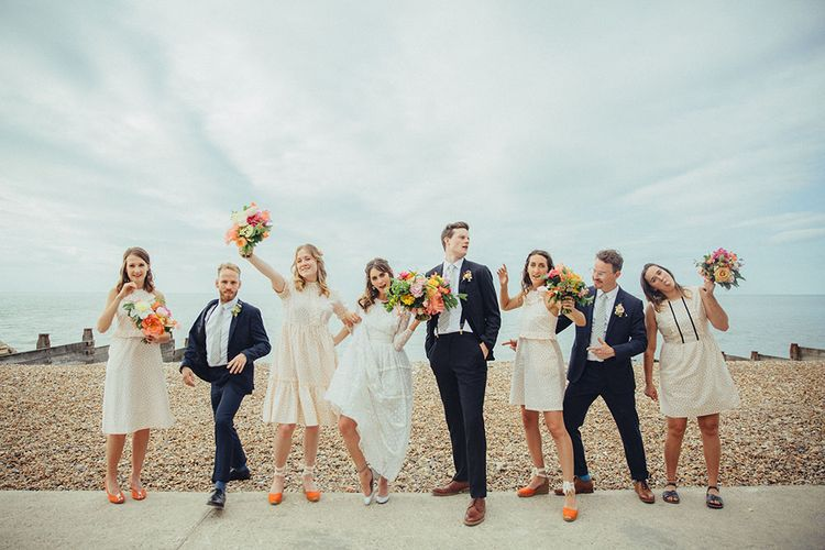 Wedding Party | Bright Coastal Wedding at East Quay Venue in Whitstable | Deborah Grace Photography