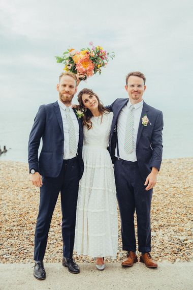 Bride in Elizabeth Avey Gown | Bright Coastal Wedding at East Quay Venue in Whitstable | Deborah Grace Photography
