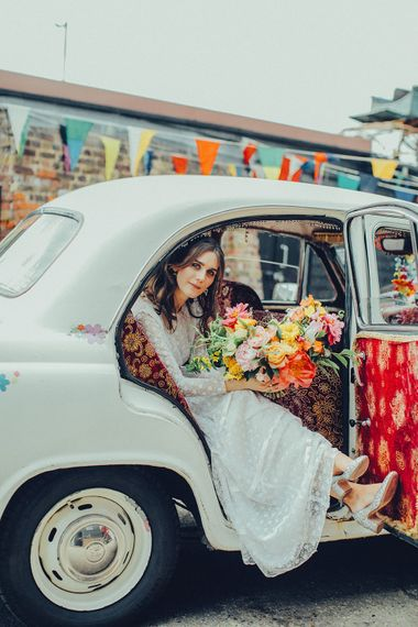 Karma Kab | Bride in Elizabeth Avey Bridal Gown | Bright Coastal Wedding at East Quay Venue in Whitstable | Deborah Grace Photography