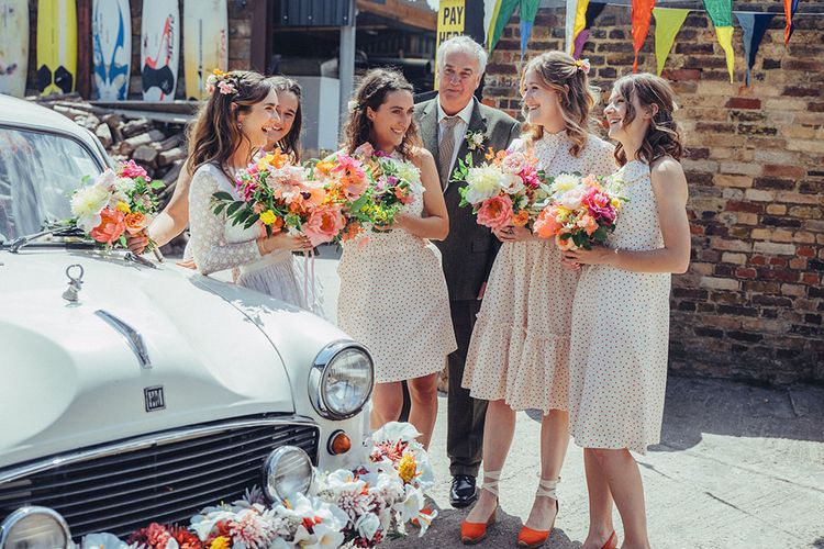 Bridesmaids in Orla Kiely Dress | Bright Coastal Wedding at East Quay Venue in Whitstable | Deborah Grace Photography