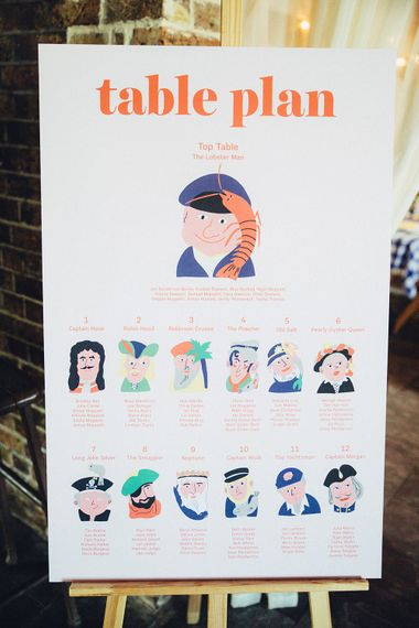 Illustration Table Plan | Bright Coastal Wedding at East Quay Venue in Whitstable | Deborah Grace Photography