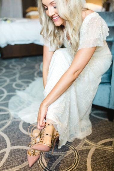 Getting Ready   Bride in Eliza Jane Howell Wilma Gown   Valentino Rockstud Bridal Shoes   The Gibson's Photography   Second Shooter Martin Venherm   White Balloon Films
