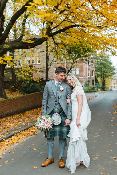 Bride in Eliza Jane Howell Wilma Wedding Dress   Groom in Kilt   The Gibson's Photography   Second Shooter Martin Venherm   White Balloon Films