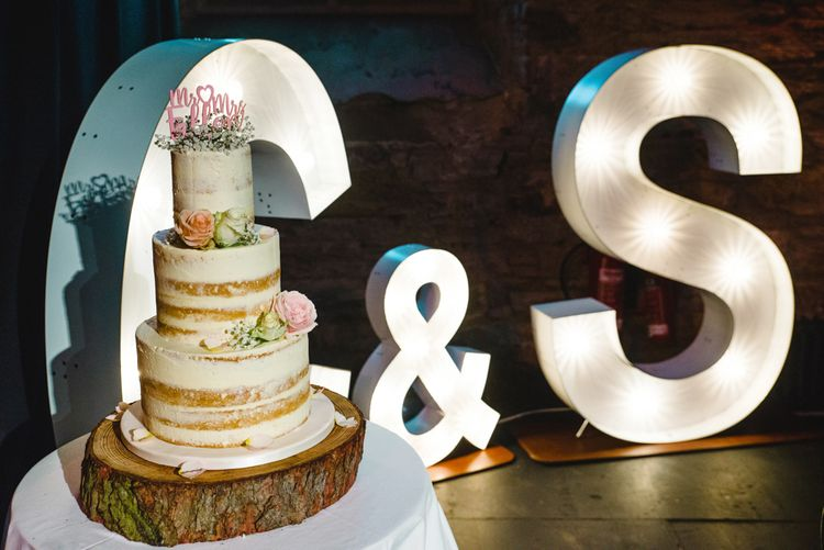 Semi Naked Wedding Cake   Giant Light up Letters   The Gibson's Photography   Second Shooter Martin Venherm   White Balloon Films
