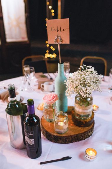 Rustic Tree Slice & Jars Centrepiece   The Gibson's Photography   Second Shooter Martin Venherm   White Balloon Films
