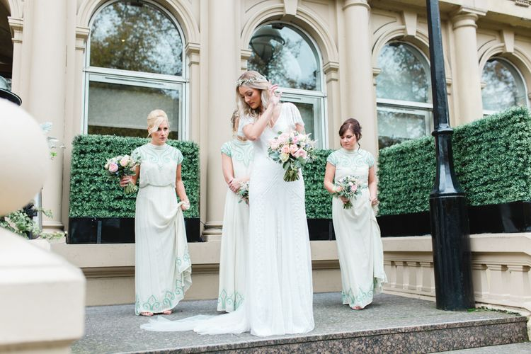 Bridesmaids in Frock & Frill ASOS Mint Green Dresses   Bride in Eliza Jane Howell Wilma Wedding Dress   The Gibson's Photography   Second Shooter Martin Venherm   White Balloon Films
