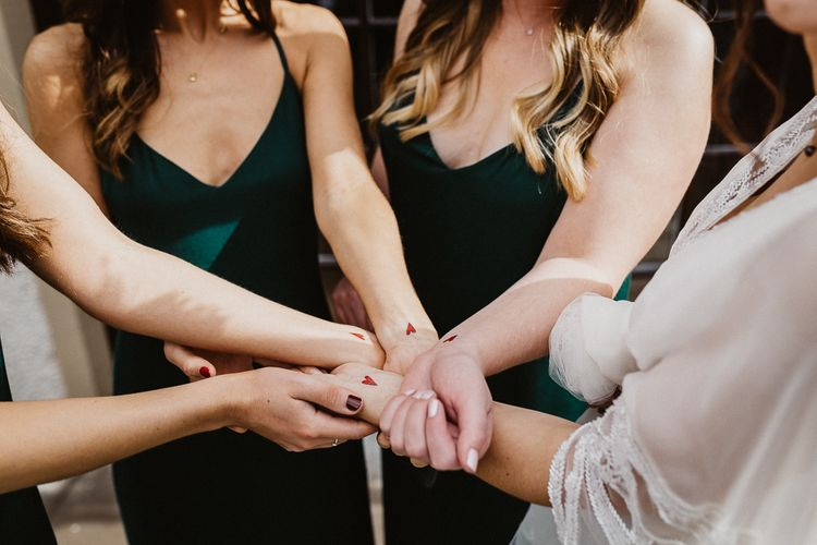 Matching Bridal Party Temporary Tattoos | Rustic Wedding at Barn at Barr Castle, Scotland | Caitlin + Jones Photography & Film