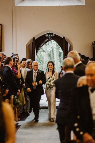 Wedding Ceremony | Bridal Entrance in Pre-Owned Eliza Jane Howell Bridal Gown | Rustic Wedding at Barn at Barr Castle, Scotland | Caitlin + Jones Photography & Film