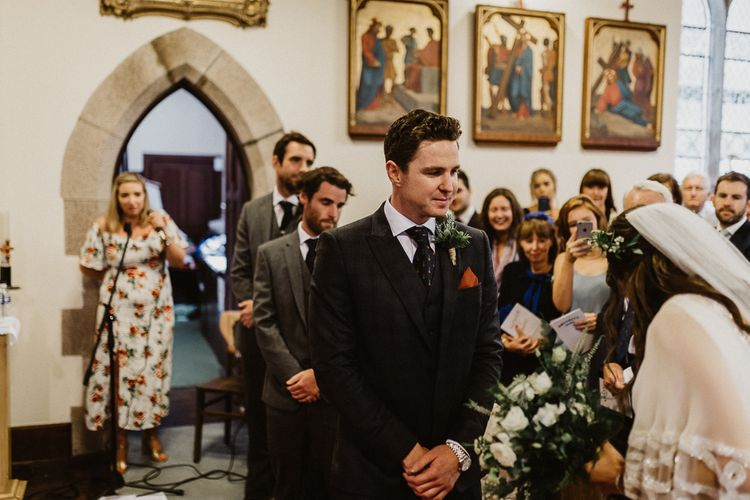 Wedding Ceremony | Groom at the Altar in The Kooples Suit | Rustic Wedding at Barn at Barr Castle, Scotland | Caitlin + Jones Photography & Film