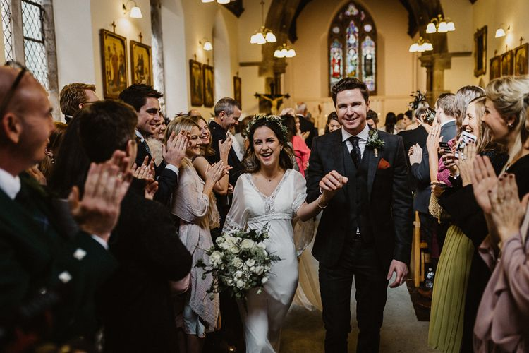 Wedding Ceremony | Bride in Eliza Jane Howell | Groom in The Kooples Suit | Rustic Wedding at Barn at Barr Castle, Scotland | Caitlin + Jones Photography & Film