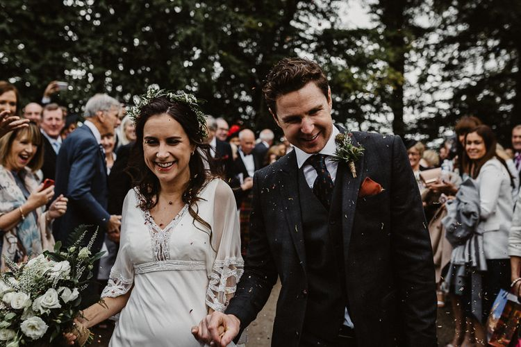 Confetti Moment | Bride in Eliza Jane Howell | Groom in The Kooples Suit | Rustic Wedding at Barn at Barr Castle, Scotland | Caitlin + Jones Photography & Film