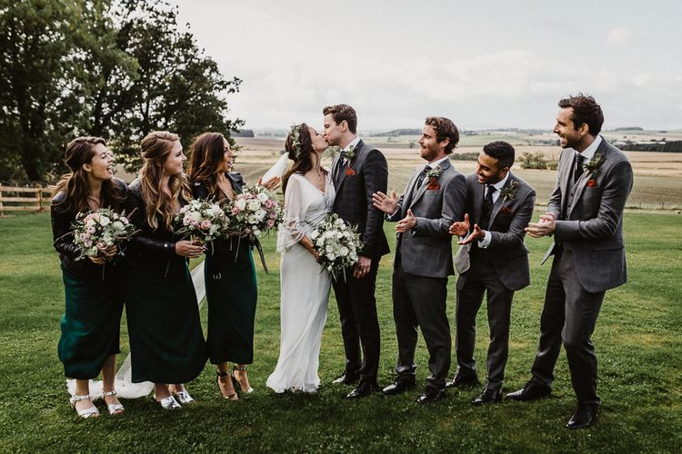 Wedding Party | Bride in Eliza Jane Howell | Groom in The Kooples Suit | Bridesmaids in Forest Green Reformation Dresses | Groomsmen in Marks and Spencer Suits | Rustic Wedding at Barn at Barr Castle, Scotland | Caitlin + Jones Photography & Film