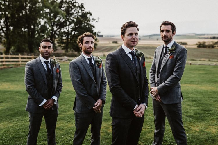 Groom in The Kooples Suit | Groomsmen in Marks and Spencer Suits | Rustic Wedding at Barn at Barr Castle, Scotland | Caitlin + Jones Photography & Film