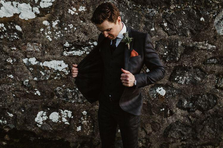 Groom in The Kooples Suit | Rustic Wedding at Barn at Barr Castle, Scotland | Caitlin + Jones Photography & Film