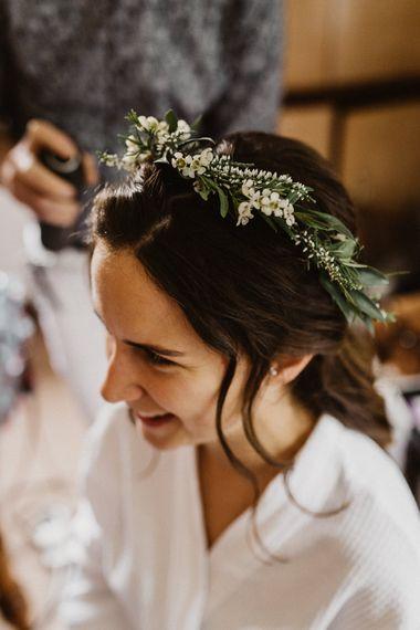 Wedding Morning Preparations | Flower Crown | Rustic Wedding at Barn at Barr Castle, Scotland | Caitlin + Jones Photography & Film