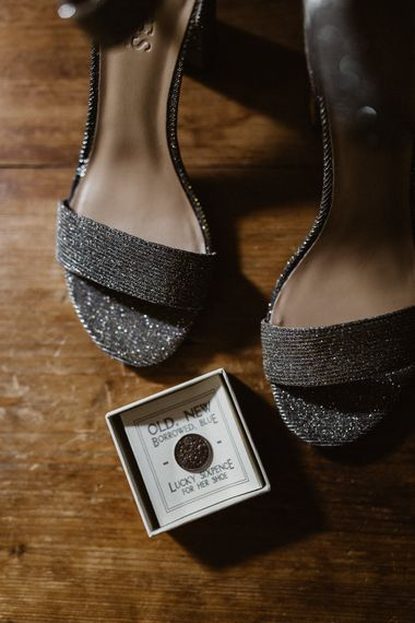 Bridal Shoes | Lucky Sixpence | Rustic Wedding at Barn at Barr Castle, Scotland | Caitlin + Jones Photography & Film