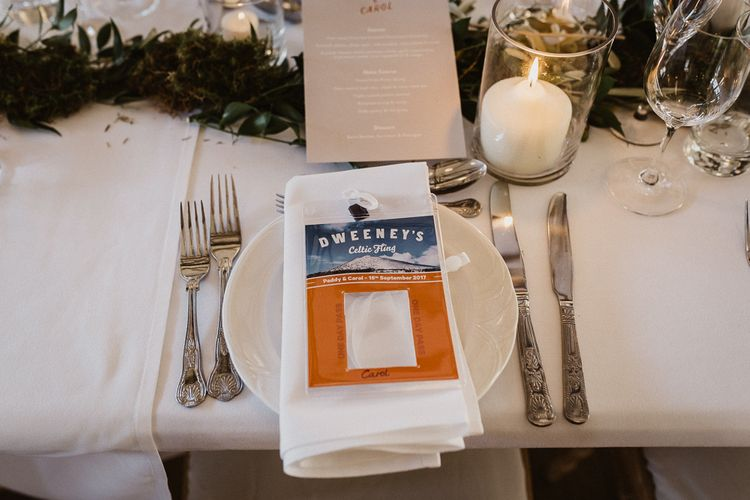 Place Setting | Rustic Wedding at Barn at Barr Castle, Scotland | Caitlin + Jones Photography & Film