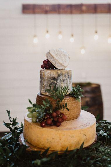 Cheese Tower Wedding Cake | Rustic Wedding at Barn at Barr Castle, Scotland | Caitlin + Jones Photography & Film