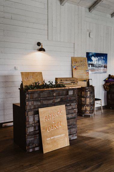 Bar | Wedding Decor | Rustic Wedding at Barn at Barr Castle, Scotland | Caitlin + Jones Photography & Film