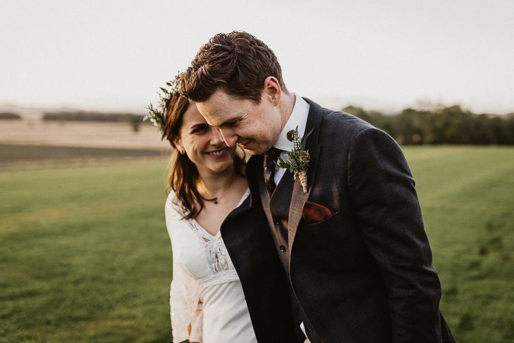 Bride in Eliza Jane Howell | Groom in The Kooples Suit | Rustic Wedding at Barn at Barr Castle, Scotland | Caitlin + Jones Photography & Film