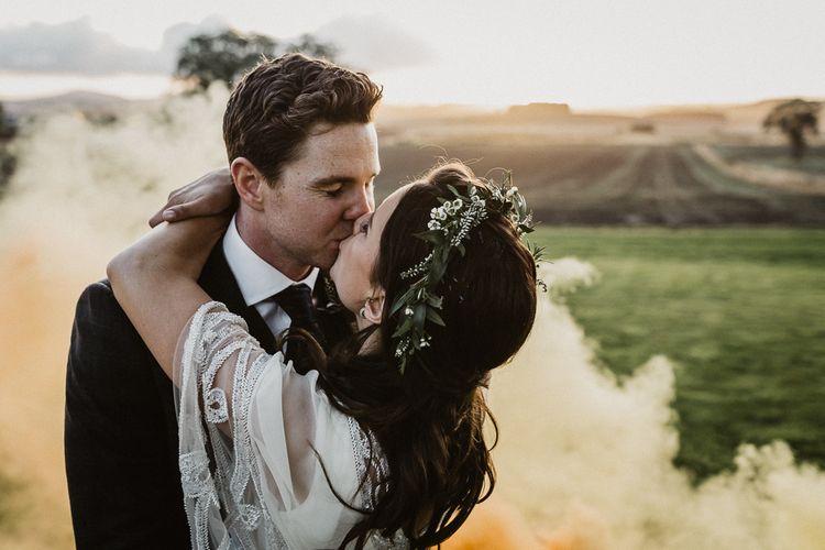 Smoke Bomb | Bride in Eliza Jane Howell | Groom in The Kooples Suit | Rustic Wedding at Barn at Barr Castle, Scotland | Caitlin + Jones Photography & Film