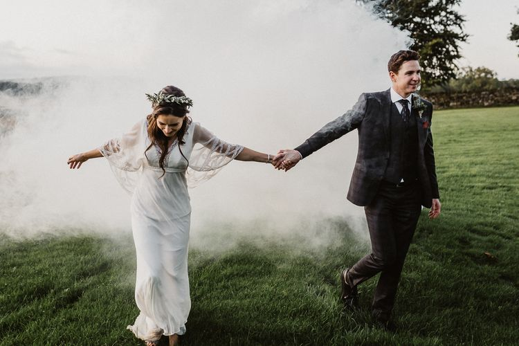 Golden Hour | Bride in Eliza Jane Howell | Groom in The Kooples Suit | Rustic Wedding at Barn at Barr Castle, Scotland | Caitlin + Jones Photography & Film