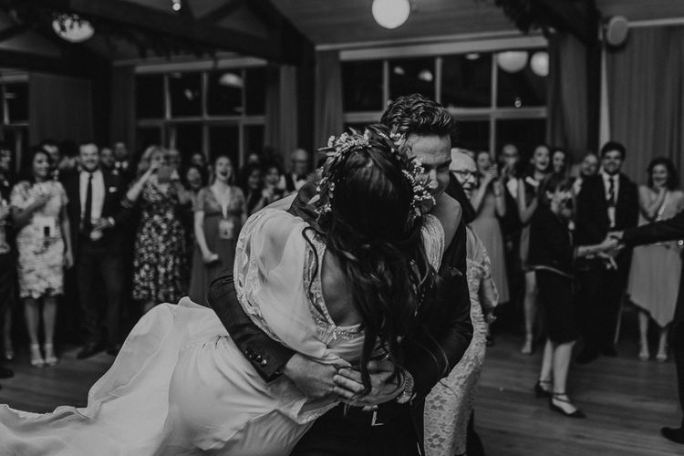 First Dance | Bride in Eliza Jane Howell | Groom in The Kooples Suit | Rustic Wedding at Barn at Barr Castle, Scotland | Caitlin + Jones Photography & Film