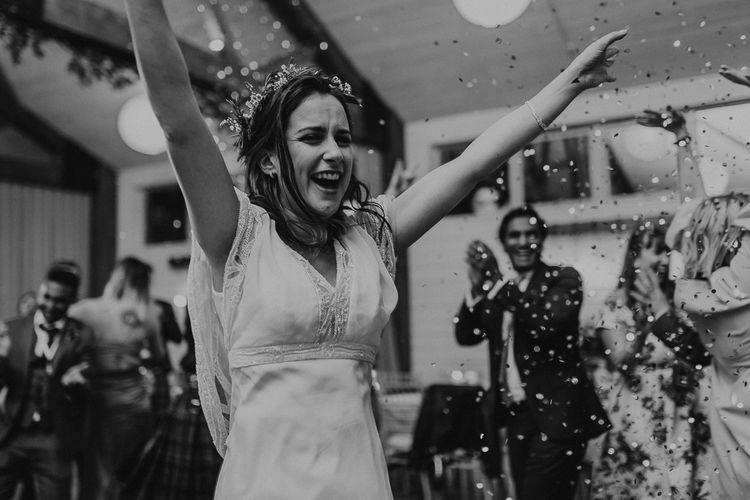 Bride in Eliza Jane Howell | Rustic Wedding at Barn at Barr Castle, Scotland | Caitlin + Jones Photography & Film