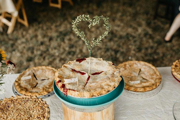 DIY At Home Farm Wedding with Rustic Decor & Wild Flowers | Lace Stella York Wedding Dress | Gloria Byler Photography