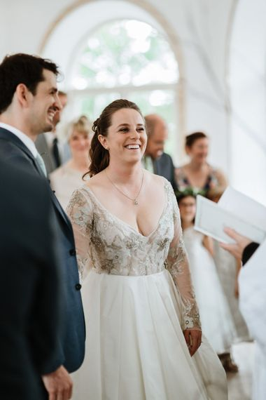 Wedding Ceremony | Bride in Miss Hayley Paige Bridal Gown | Groom in Navy Ted Baker Suit | Natural Wedding at Northbrook Park, Surrey | Green Antlers Photography | Gione Da Silva Film