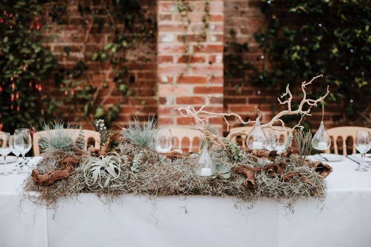 Top Table Wedding Decor | Natural Wedding at Northbrook Park, Surrey | Green Antlers Photography | Gione Da Silva Film