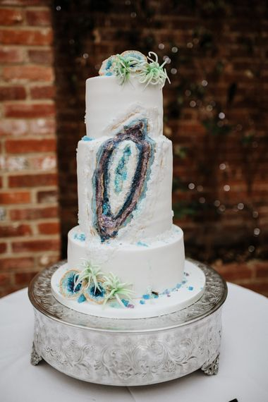 Geode Wedding Cake | Natural Wedding at Northbrook Park, Surrey | Green Antlers Photography | Gione Da Silva Film