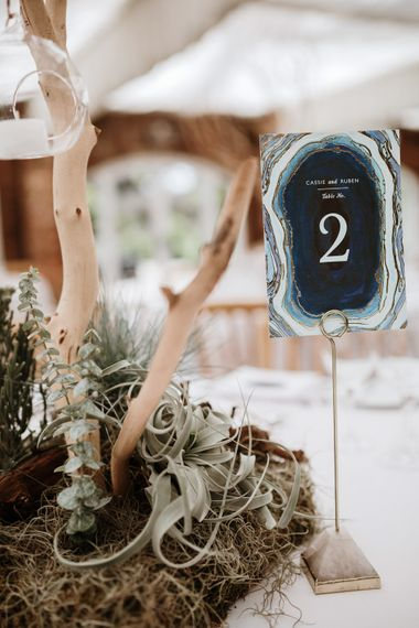 Table Number Wedding Stationery & Centrepiece | Natural Wedding at Northbrook Park, Surrey | Green Antlers Photography | Gione Da Silva Film