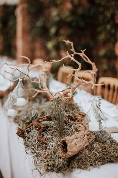 Driftwood & Succulents Centrepiece | Natural Wedding at Northbrook Park, Surrey | Green Antlers Photography | Gione Da Silva Film
