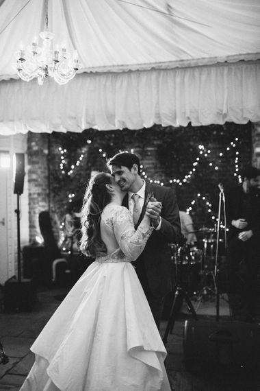 First Dance | Bride in Miss Hayley Paige Bridal Gown | Groom in Navy Ted Baker Suit | Natural Wedding at Northbrook Park, Surrey | Green Antlers Photography | Gione Da Silva Film