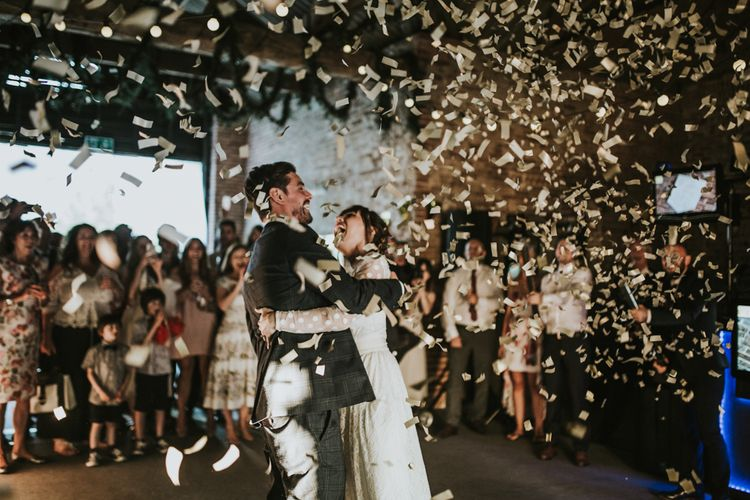 Confetti Bomb | First Dance | Bride in Katya Katya Gown | Groom in Ted Baker Suit | Fishley Hall Rustic Barn Wedding | Darina Stoda Photography