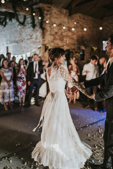 First Dance | Bride in Katya Katya Gown | Fishley Hall Rustic Barn Wedding | Darina Stoda Photography