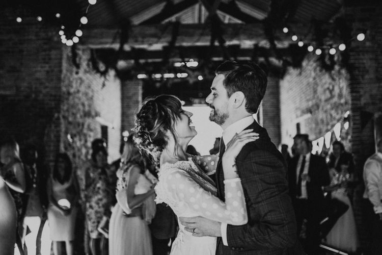 First Dance | Bride in Katya Katya Gown | Groom in Ted Baker Suit | Fishley Hall Rustic Barn Wedding | Darina Stoda Photography
