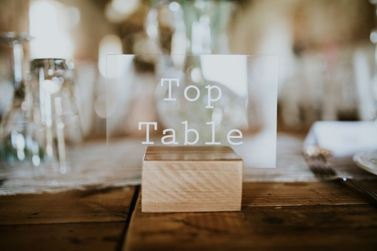 Perspex Top Table Wedding Sign | Fishley Hall Rustic Barn Wedding | Darina Stoda Photography