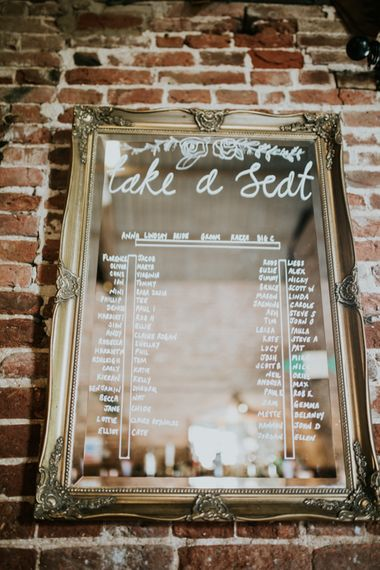 Etched Mirror Table Plan | Fishley Hall Rustic Barn Wedding | Darina Stoda Photography