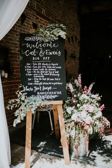 Chalkboard Order of The Day Sign | Swaffam Flowers Arrangements | Fishley Hall Rustic Barn Wedding | Darina Stoda Photography