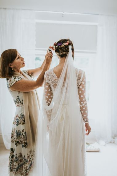Bridal Preparations | Bride in Katya Katya Gown | Fishley Hall Rustic Barn Wedding | Darina Stoda Photography